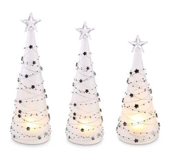 "Battery Operated LED Christmas Trees with Silver Star Detail-11"" Tall"