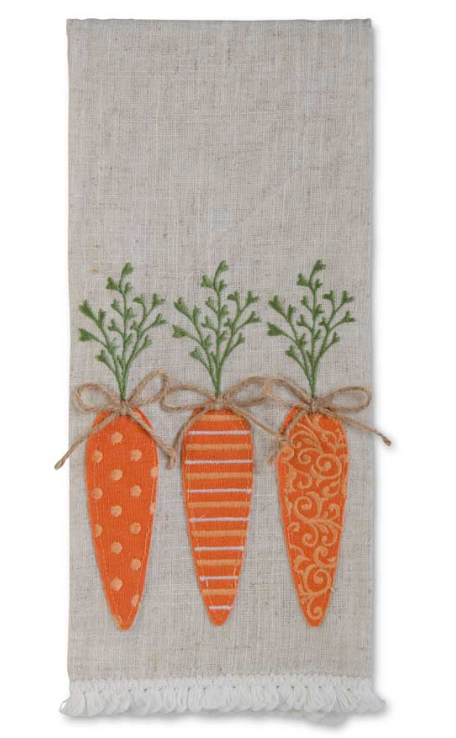 28 Inch Easter Towel With 2 Rabbits and Carrots