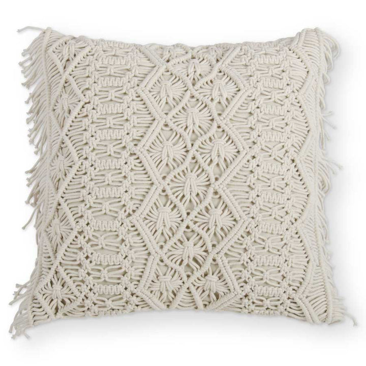 Large Cream Square Macrame Pillow with Fringe