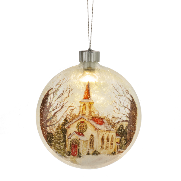 Lighted LED Church Disk Ornament