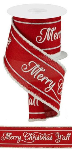 "4"" X 10 yd 3 in 1 Merry Christmas Y'all Wired Edge Ribbon"