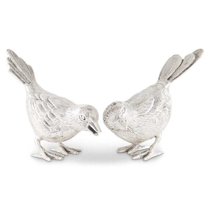 Set of 2 Antiqued Silver Song Birds