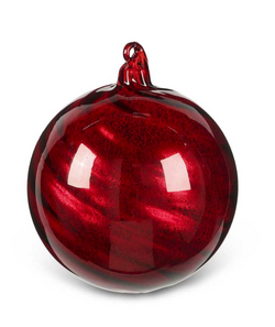 4.5 Inch Med Round Red Glass Ornament with Ribbon Swirl