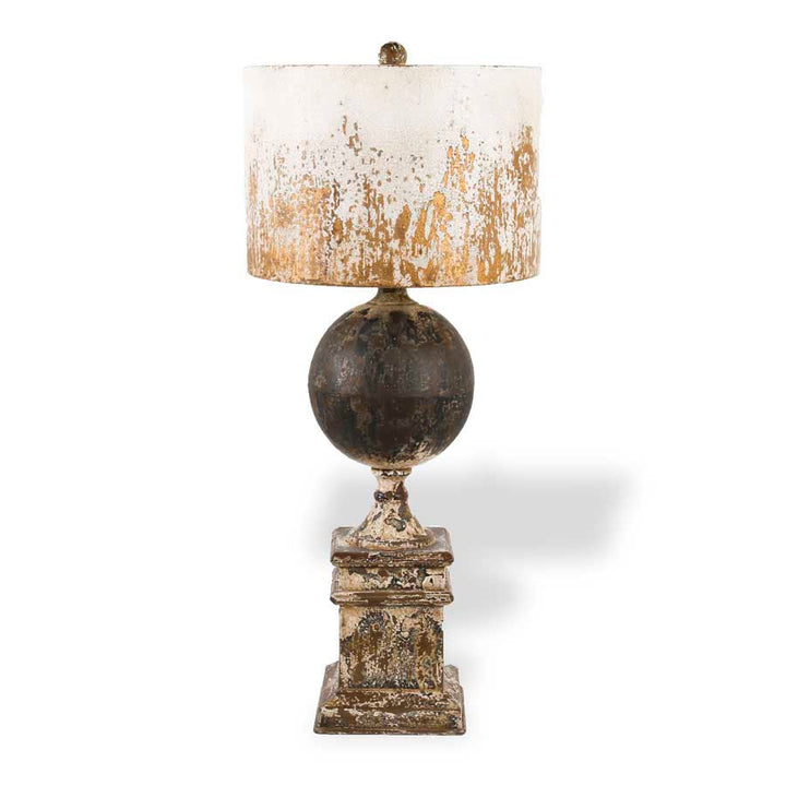 28 Inch Distressed Metal Square Base Lamp with Ball and White Rustic Shade