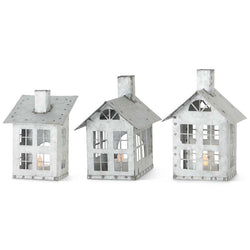 Assorted Galvanized Tin Houses w/Cut Out Windows (3 Styles) (Grad Sizes Sold Individually)