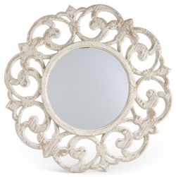 30 Inch Wooden Whitewash Scroll Mirror