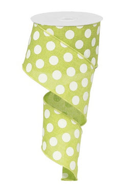 "Polka Dot Canvas Wired Edge Ribbon - 2.5"" x 10 Yards (Lime Green, White)"