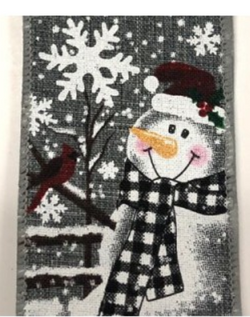 "2.5 "" x 10 yd Snowman with Cardinals Christmas Winter Wired Edge Ribbon- Gray"