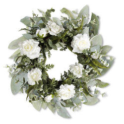 24 Inch White Rose and Eucalyptus Wreath on Grapevine Base