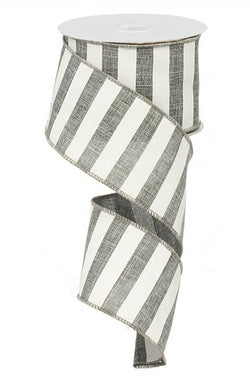 "Horizontal Stripe Wired Edge Ribbon - 10 yards (Grey, 2.5"")"