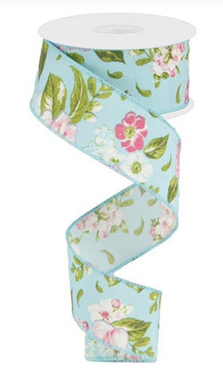 "1.5""X10yd Floral on Light Blue Background Wired Edge Ribbon"