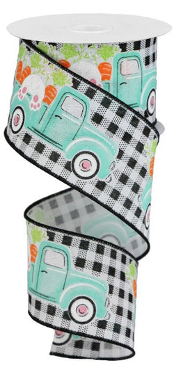 "Expressions, 2.5"" Bunny Carrots Truck Gingham Ribbon: Lavender (10 Yards) Bunny in Truck Ribbon RGA1603X6"