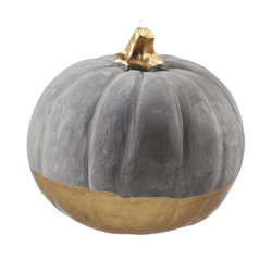 "Small Concrete Pumpkin with Gold Bottom and Stem-Measures 4"" x 4"" x 3.5"""