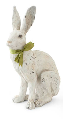 15.5 Inch Sitting White Rabbit with Green Ribbon Bow