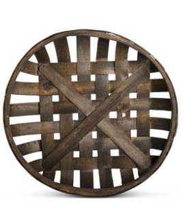 Roud Nesting Trays, Brown Woven Wood-Sold Individually