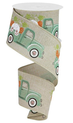 "2.5""X10yd Truck W/Bunny/Carrots On Royal Easter Wired Edge Ribbon"