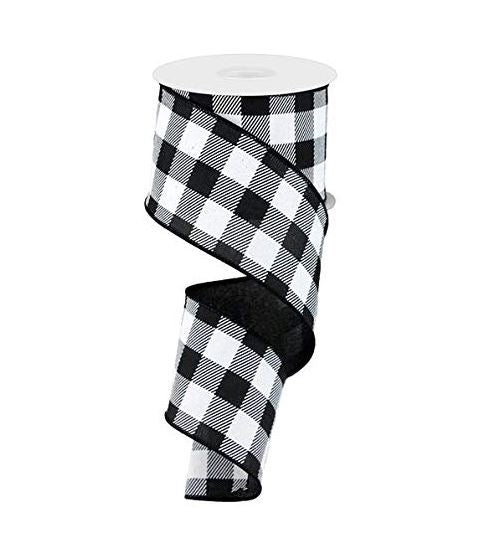 Plaid Check Wired Edge Ribbon - 10 Yards (Black, White, 2.5
