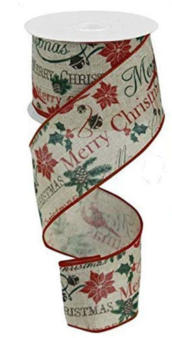 "Wired Edge Christmas Ribbon with Merry Christmas, Holly, Jingle Bells, and Poinsettias-2.5"" x 10yd"