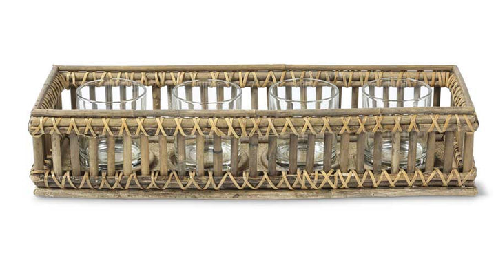 Rectangular Tray with 4 Lanterns, Rattan/Glass