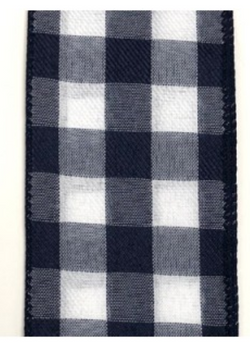 "2.5"" X 50yd Wired Woven Buffalo Plaid -wired edge (Navy/White)"