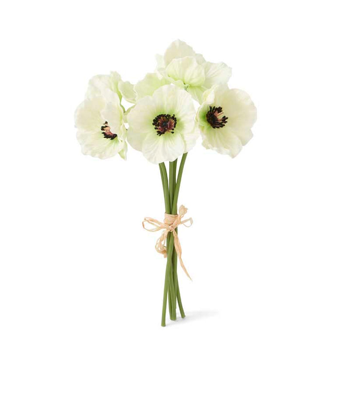 Red Real Touch Mini Poppy Bouquet, 6 stems per bundle (White)