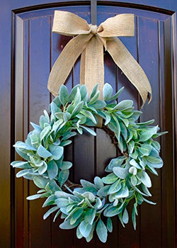 Rustic Round Front Door Wreath made of Green Lambs Ear on Grapevine Base