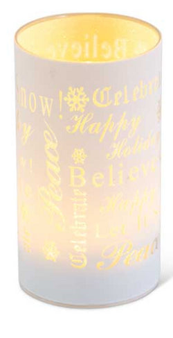 "6.5"" Matte White LED Glass Candle With Holiday Messages"