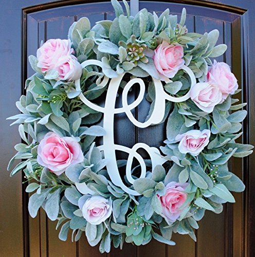 Rustic Round Wreath made of Green Lambs Ear, Succulents, and Pink Roses on Grapevine with Monogram Option