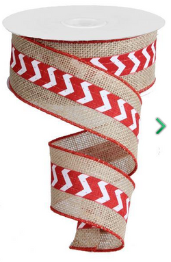 "2.5"" X 10 yd Mini Chevron on Burlap Jute Wired Edge Ribbon--Red/White"