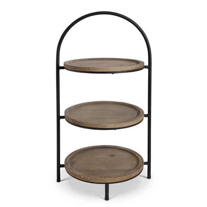 27 Inch 3 Tiered Metal Stand with Fir Wood Trays