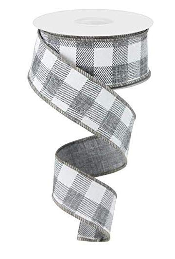 Plaid Check Wired Edge Ribbon - 10 Yards (Grey, White, 1.5 Inches)