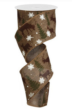"2.5""X 10 yd Christmas Deer with Trees Wired Edge Royal Ribbon"