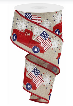 "2.5"" Red Vintage Patriotic Truck - Red Farm Truck July 4th America Patriotic Wired Edge Ribbon (Buff)"