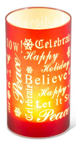 "6.5"" Matte Red LED Glass Candle With Holiday Messages"