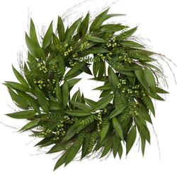 30 Inch Willow Leaf Wreath with Green Berries