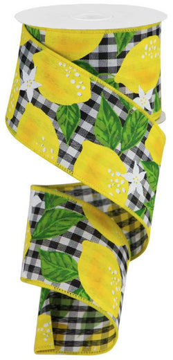 "Expressions, 2.5"" Lemon Check Ribbon: Black & White (10 Yards) Lemon Wired Ribbon"