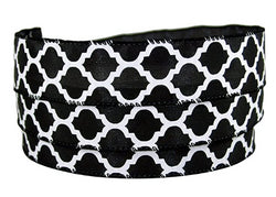 "Moroccan Quatrefoil Black & White Wired Ribbon #9-1.5"" X 50yds"