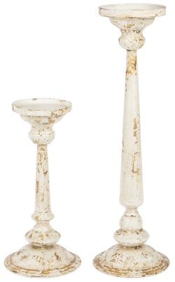Distressed Ivory & Gold Pillar Holder-2 Sizes