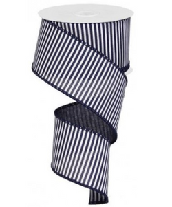 "2.5 "" X 10 yd Wired Horizontal Stripe Canvas Ribbon--Navy on White"