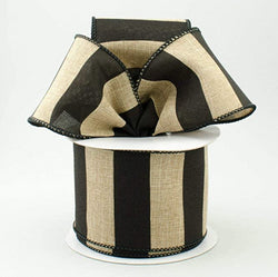 "2.5"" Wide Expressions Royal Canvas Wide Stripe Wired Ribbon Natural & Black (10 Yards) Wired Black Edge"