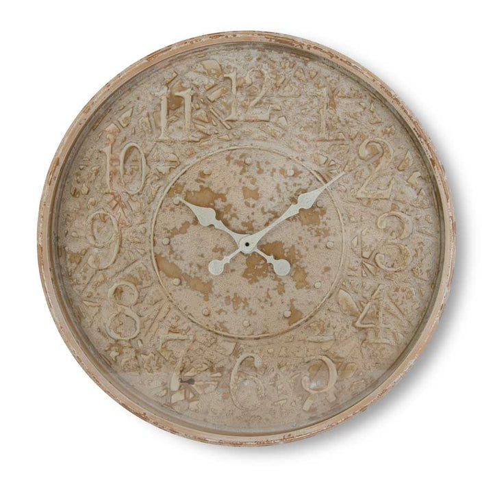 Distressed Cream Embossed Metal Wall Clock