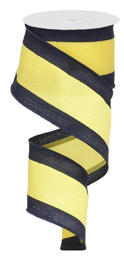 "2.5"" Wide Expressions Satin Team Stripe Wired Ribbon Navy & Yellow (10 Yards)"