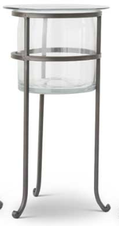18 Inch Clear Glass Vase On Dark Metal Stand