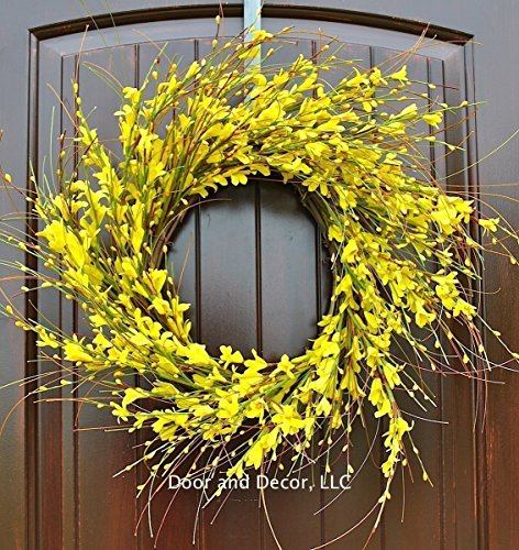 Handmade Yellow Forsythia Wreath in 20-22 Inch Diameter for Front Door--Mother's Day, Easter, Spring