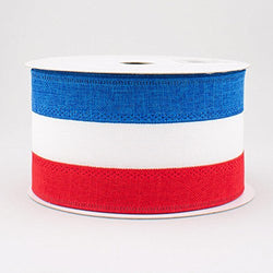 "2.5"" Wide Royal Burlap Patriotic Stripe Wired Ribbon Red, White & Blue (10 Yards)"
