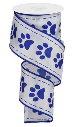 "2.5""X10yd Blue Paw Prints On White Satin Wired Edge Ribbon"