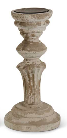 11.75 Inch Distressed Wood Column Candleholder