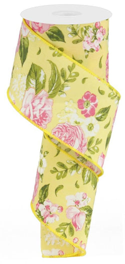 "2.5"" Floral Rose Ribbon: Yellow (10 Yards) Spring Easter Mother's Day Wired Ribbon"