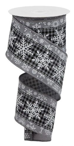 "2.5""X10yd Snowflake On Grey and Black Check Wired Ribbon"