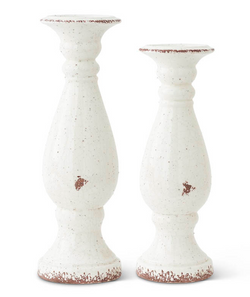 White Ceramic Candleholder-Small